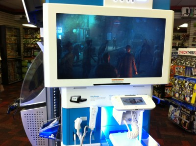 The Wii U kiosk. It IS this blurry in real life.